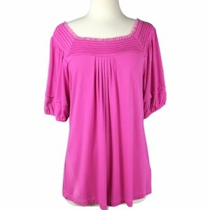 Nicole by Nicole Miller Pink Pullover Lace Top L